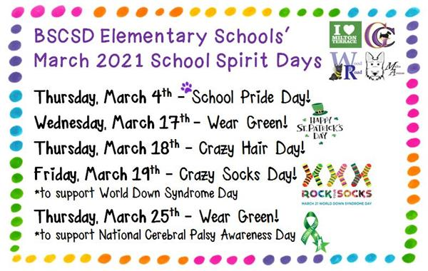 March School Spirit Days!